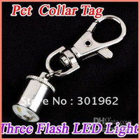 50pcs / embalar Pet Dog Cat Flasher Blinker LED Collar Segurança Tag