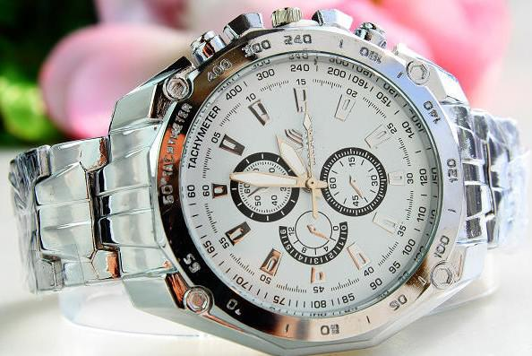Clearance Sale!2015 Luxury Men's watch Stainless Steel Watch Band Men Mechanical watches Three six-pin round three-eyes watches