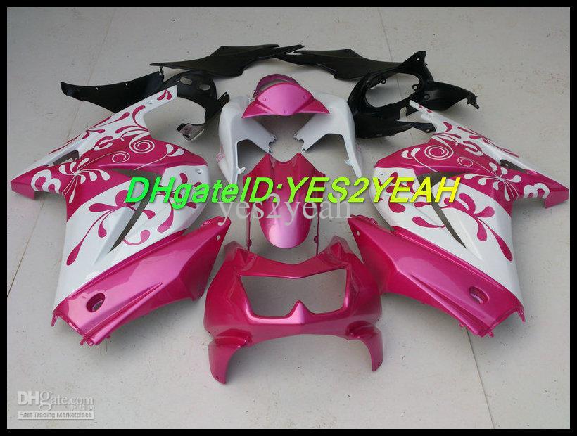 핑크 플라워 가와사키 닌자 ZX250R ZX 250R 2008 2012 EX 250 08 09 10 11 12 페어링 세트