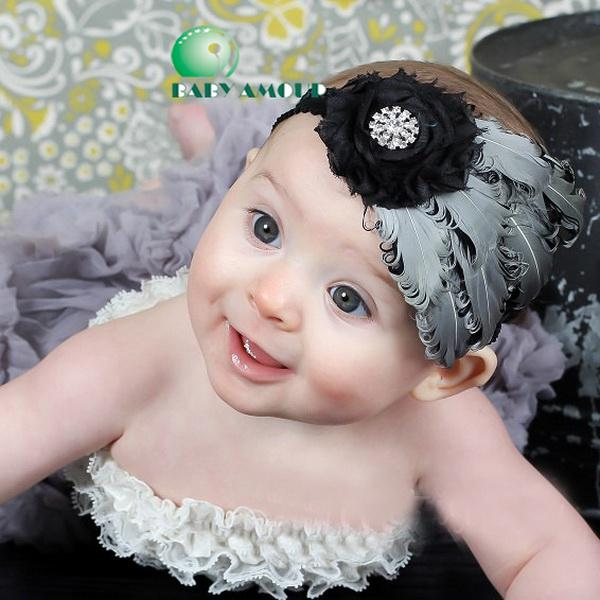 Baby Girl Infant Headband Bow Peacock Feather FASCINATOR Headband Flower  Hair Accessories 663e480515f