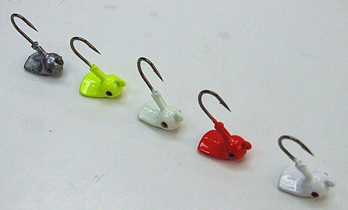 Fishing jig head lead head hook Unique shape keep standing make soft bait cock tail VMC hook four size five colors for sea/lakes fishing