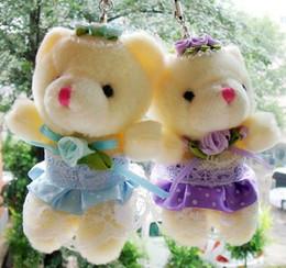 Wholesale Teddy Bear Marriage - Hot ! Marriage Yarn Teddy Bear Winnie The Pendant Wedding Small Gift Doll 8cm (002675)