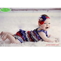 Wholesale Posh Outfits - baby headbands posh petti rompers infant romper bodysuit outfits lace shortall coverall hair tie