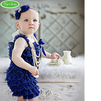 Wholesale Petti Rompers 24 Piece - baby clothes headbands posh petti rompers infant romper one-piece coverall bodysuit outfits lace shortall coverall hair tie tutu shortall