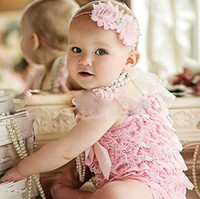 Wholesale Petti Rompers 24 Piece - baby clothes head bands posh petti rompers romper one-piece coverall bodysuit princess outfits lace coverall hair tie tutu shortall