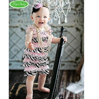 Wholesale Coverall Romper - baby headbands posh petti rompers striped zebra romper one-piece coverall bodysuit princess outfits lace coverall hair tie tutu shortall