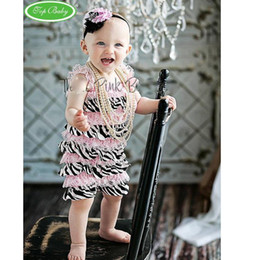 Wholesale Zebra Hair Color - baby headbands posh petti rompers striped zebra romper one-piece coverall bodysuit princess outfits lace coverall hair tie tutu shortall