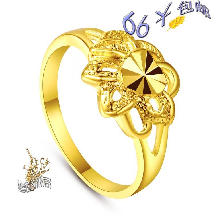 Heart Shaped Style Lady Imitation Gold Rings Gold Content Can Be