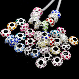 Wholesale European Beads Birthstone - Top Sale Czech Rhinestone Spacer bead 925 silver Plated Core Crystal beads Birthstone European Beads Fit Charm Bracelet Necklace 100pcs