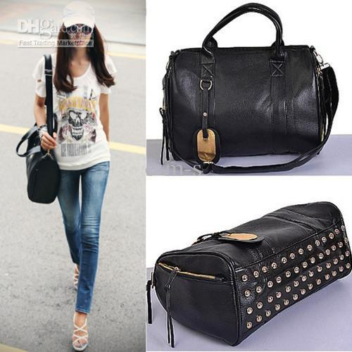 Women'S Rivet Metal Shoulder Bag Zipper Handbags Studded Bottom ...