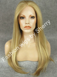 """Wholesale Silky Straight Blonde Wig - 24"""" Long #613 16 27hy Mix Blonde Silky Straight 150% Density Heat Resistant Synthetic Fiber Lace Front Fashion Wig S02"""