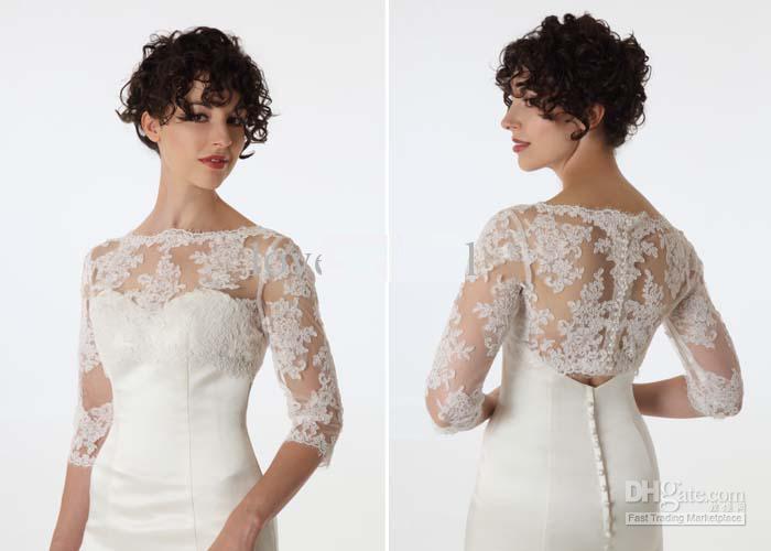 Latest Bride Long Sleeve Lace Jacket White/Ivory Bridal