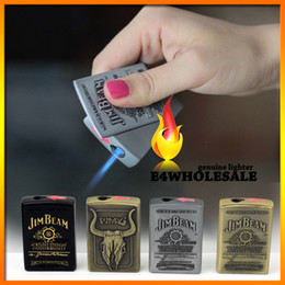 Wholesale Steel Lighters - Free shippingJIM BEAM Pattern Steel Jet Torch Butane Windproof Refillable Cigarette Lighter