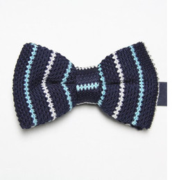 Knitted Bowties UK - butterflies polyester knitted ties striped men's necktie business navy tie knot wool bowties cravat ascot F9