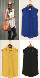 Wholesale Sleeveless Ladies Candy Color - YM-D339 POPULAR STYLE CANDY COLORS TURN DOWN COLLAR WITH RIVET SLEEVELESS CHIFFON BLOUSE LADY SEXY FAKE POCKET BLOUSE 4-COLORS