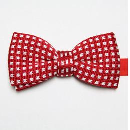 Wholesale Cravat Bow Tie Women - butterflies polyester knitted ties bowknot men's necktie business red tie knot wool bowties cravat ascot D5