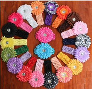 Wholesale 36pcs Baby Crochet Headbands Gerbera Daisy Flowers colors U pick color