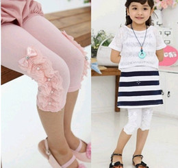 short leggings children NZ - New children girls decorative border bead leggings skinny tights primer short pants kid trousers white KZ90