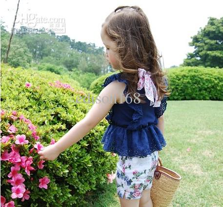Nouveaux enfants Filles Fleur Pantalon Court Kid Pantalon avec poche Blanc Blanc KZ83