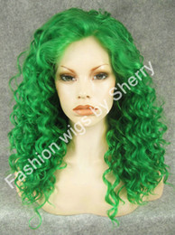 "Wholesale Long Curly Heavy Wig - 20"" Long #T6138 Green Curly Heavy Density Heat Friendly Synthetic Hair Lace Front Costume Wig"