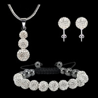 Wholesale Wholesale Shambala Necklace - Shamballa Set 11pcs 10mm White Crystal Clay Disco Ball Bracelets 925 Silver Snake Necklace Pendants earrings stud Set Shambala jewelry sets