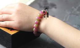 2019 bracelet en or blanc Bracelet de pierres précieuses de beauté de santé / Bracelet de cristal naturel de femmes / Bracelet de jade de pastèque