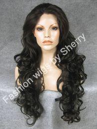 "$enCountryForm.capitalKeyWord Canada - 26"" Long #4 Dark Brown Heavy Density Heat Safe Synthetic Hair Lace Front Wig"