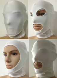 Wholesale Halloween Pirate Masks - Halloween party lycra spandex zentai costume white Mask Hood for Slenderman