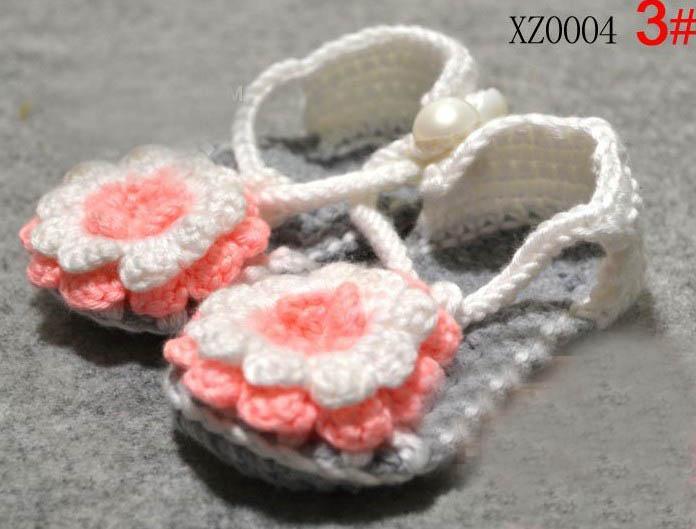 5 paren = 10 stks / partij mode handgemaakte haak baby bloem schoenen mix 7 stijl kinderen schattige sandalen 0 -18 m katoen