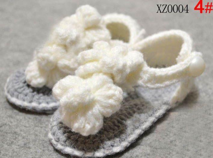 20 paia = 40 pz / lotto Scarpe fiore fiore all'uncinetto mix 7 stile bambini simpatici sandali 0 -18M cotone