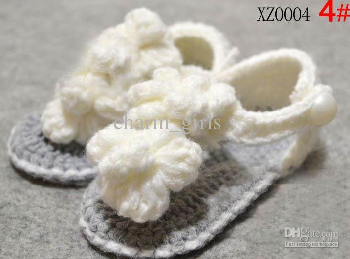 20 paren = 40 stks / partij haak baby bloem schoenen mix 7 stijl kinderen schattige sandalen 0 -18 m katoen