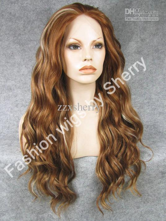 "S06 24"" Long #30Y/27hy/613 auburn mix blonde 150% Density Heat Friendly Synthetic Hair Lace Front Wig"