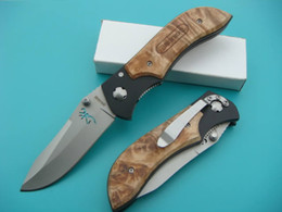 Best Survival Rescue Knife Canada - Free DHL Browning Very Sharp Folding Knife Best EDC Pocket 440C 58HRC Blade Wood Handle Outdoor Survival Rescue Gift Knives F526E