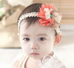 Wholesale Baby Headbands Ribbon Lace - wholesale-baby hair toddler headband Children ribbon Gauze flowers Baby Flower Hairbands,Girls Headband,Infant Knitting Hair Weave 10p l