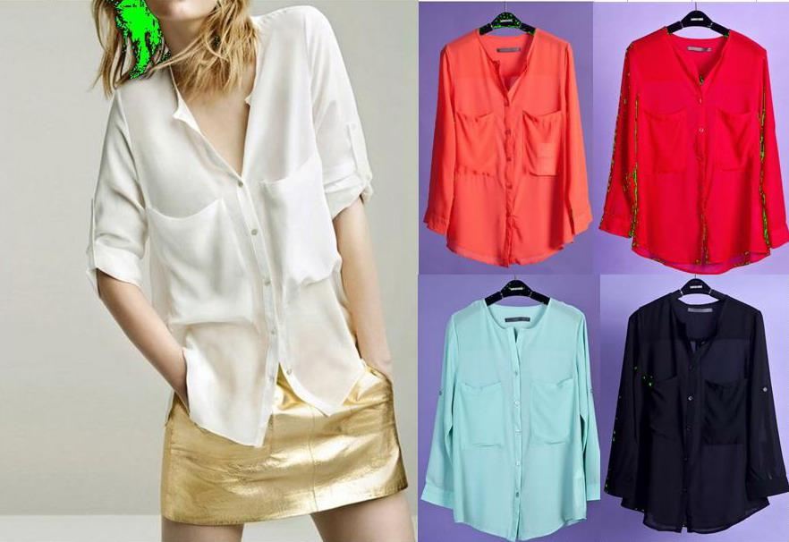 Summer Transparent Shirt For Womens 2013 Fashion Whie Black Color ...