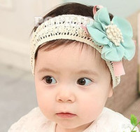 Wholesale stick hair weave online - baby hair toddler headband Children ribbon Gauze flowers Baby Flower Hairbands Girls Headband Infant Knitting Hair Weave color