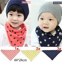 Wholesale Dribble Bibs - Baby 2-Layer Cotton Bibs Toddler Reversible Bandit Bandana Dribble Baby 5 Star Triangled Bibs 3Color