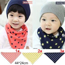 Wholesale Dribble Bibs Wholesale - Baby 2-Layer Cotton Bibs Toddler Reversible Bandit Bandana Dribble Baby 5 Star Triangled Bibs 3Color
