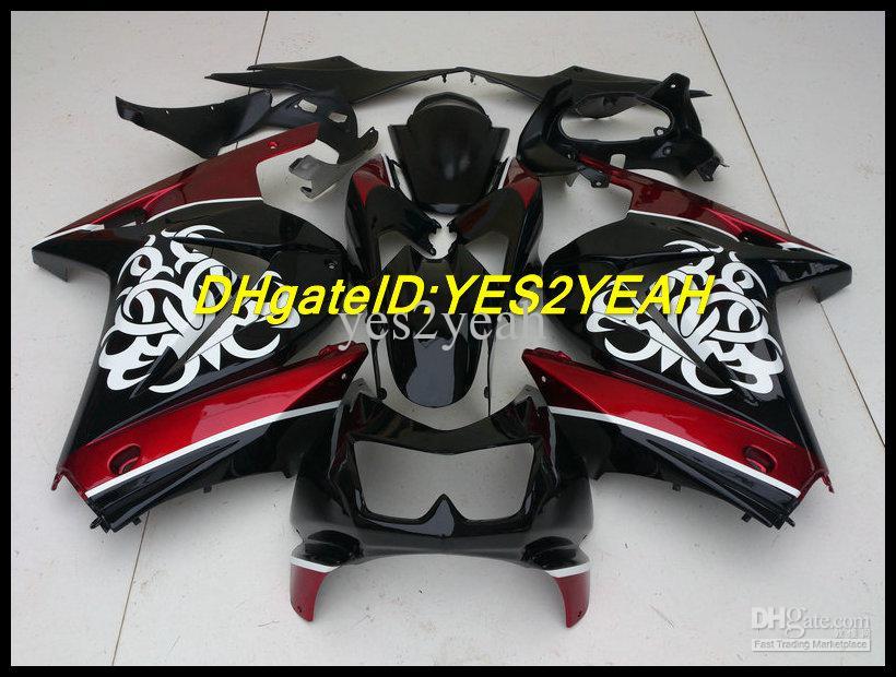 Kuiken Body Kit voor Kawasaki Ninja ZX250R ZX 250R 2008 2012 EX 250 08 09 10 11 12 White Flowers Backings Carrosserie