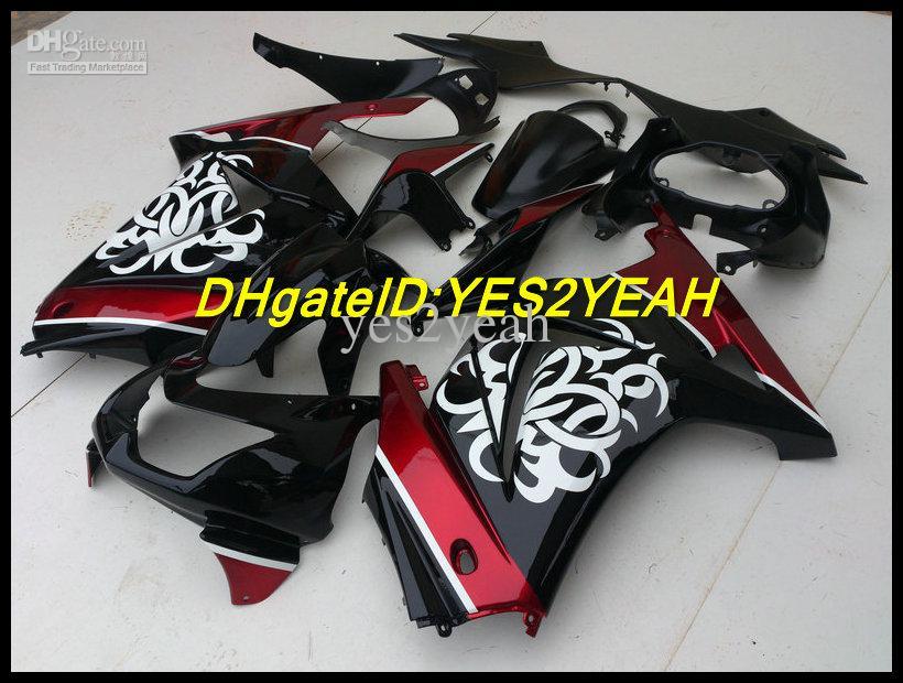 Verkleidungs-Bodykit für KAWASAKI Ninja ZX250R ZX 250R 2008 2012 EX 250 08 09 10 11 12 Weiße Blumen Verkleidungen Karosserie