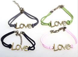 2019 pulseras del cordón del amor Pulsera del cordón de cuero de la pulsera de la manera de 10pcs / lot DIY AMOR Pulsera pulseras del cordón del amor baratos