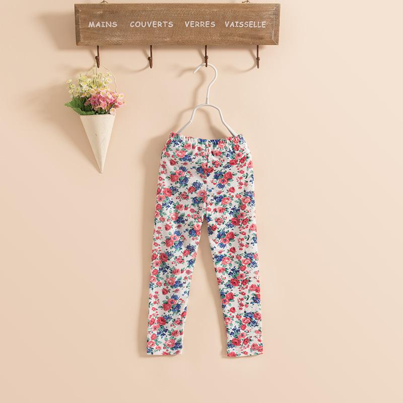 Le nuove ragazze dei bambini cotone Lavare pittura leggings fiore magro collant di primer dei pantaloni dei pantaloni i KZ79