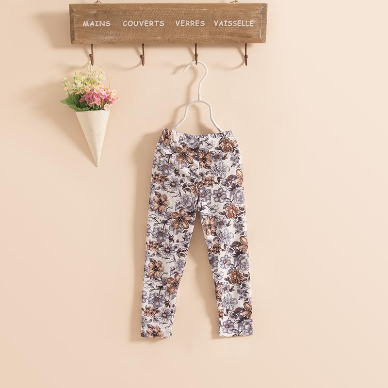 Novas crianças meninas de lavagem de algodão pintura de flores leggings magro calças de primers calças calças cor 8 KZ79