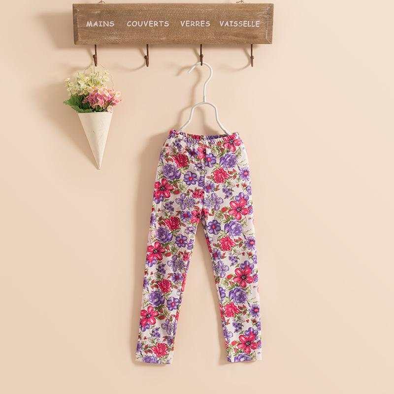 De nouveaux pantalons apprêt enfants filles lavage coton peinture collants leggings fleur pantalon 8 couleur KZ79