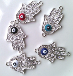 Wholesale Hamsa Eye Evil Bracelet Connector - 50PCS Silver Plated Crystal Sideways Evil Eye Hand Hamsa Bracelet Connectors 5 Colors Bracelet Charms Cool Boy Jewelry DIY