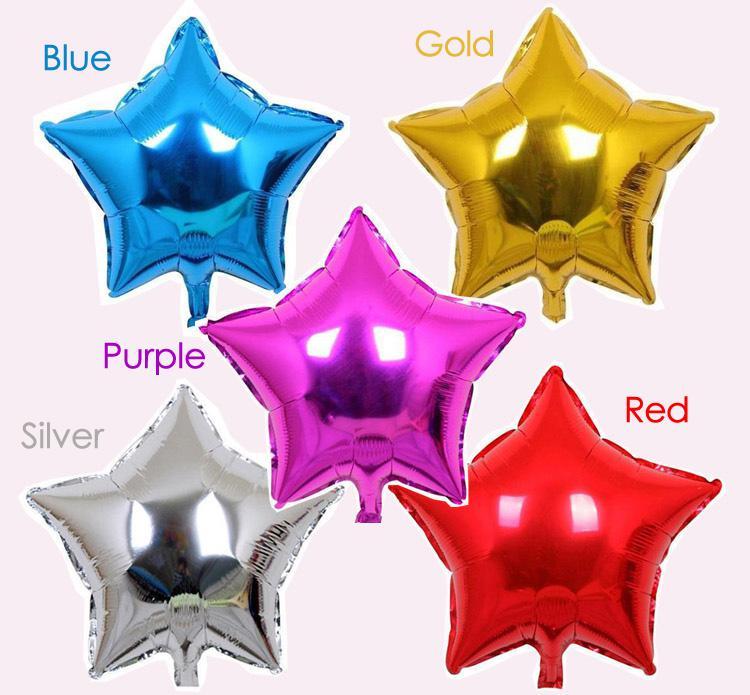 O balão da folha do hélio da estrela Cinco-pointed de 18inch, decorações da fonte do partido dos feriados mistura a cor