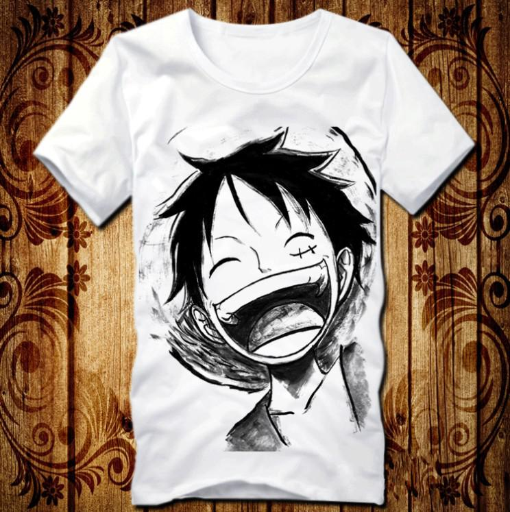 anime one piece clothing luffy laughing costume white t. Black Bedroom Furniture Sets. Home Design Ideas