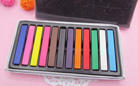 Wholesale Stick Chalk - High quality hair soft chalk crayons 6 color hair dye pen wholesale dyed hair stick hair Chalk