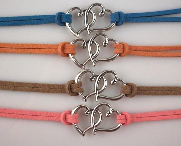 / colori misti 2 cuori amano il braccialetto di cuoio del braccialetto del cuoio del braccialetto del cavo di cuoio del cuore