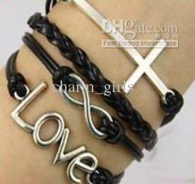 / Bracelet à breloques de style Fashion 5 Bracelet en cuir de vache vraiment bijoux pas cher